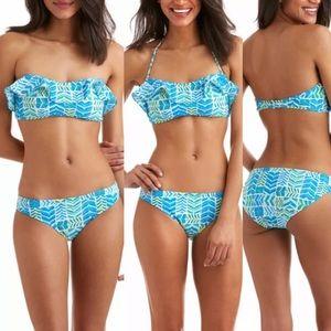 Vineyard Vines Geo Whaletail Ruffle Bikini Top NWT